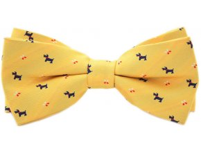 Pánský motýlek s pejskama - žlutý