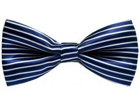 Pánský motýlek s tenkými pruhy - modrý