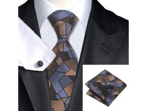 Kravatový set tmavý hnědo-modrý, 100% hedvábí