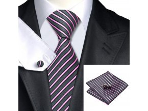 Kravatový set šedo-fialový pruhovaný, 100% hedvábí