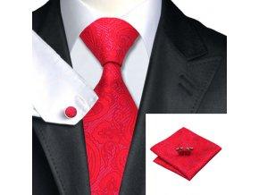 Kravatový set s texturou červený, 100% hedvábí