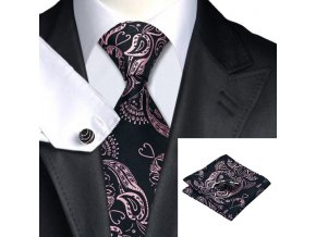 Kravatový set černý s růžovou texturou, 100% hedvábí