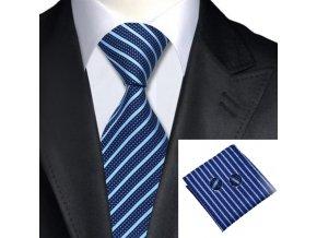Kravatový set pruhovaný modrý světlo-tmavý, 100% hedvábí