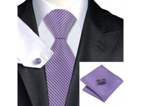 Kravatový set fialový pruhovaný, 100% hedvábí