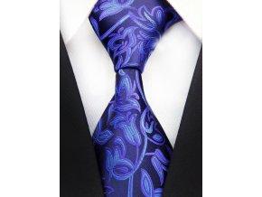 Pánská kravata - tmavě modrá se vzorem, hedvábná