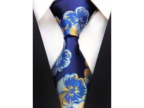 Pánská kravata - tmavě modrá s květy, hedvábná