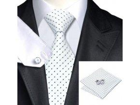 Kravatový set bílý s černými tečkami, 100% hedvábí