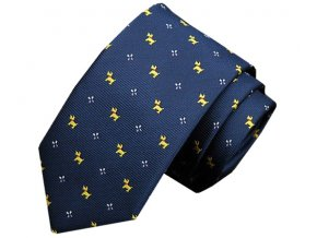 Pánská slim kravata s pejsky - tmavě modrá