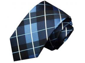Pánská slim kravata s károvaným vzorem - tmavě modrá