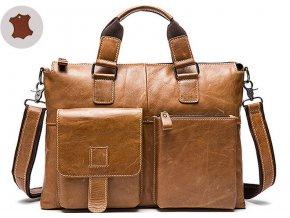 """Kožená taška / brašna camel (pravá kůže) na notebook 15,6"""""""