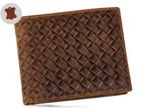 Luxusní peněženka z pravé kůže - s mřížkou s kapsou na mince a pouzdrem