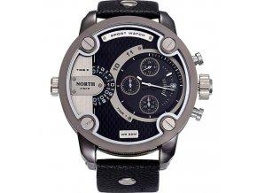 Atraktivní hodinky North se dvěma pásmy a datumem - černé