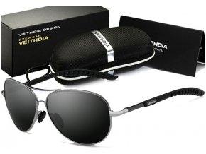 Set: Atraktivní sluneční brýle Pilot - černé