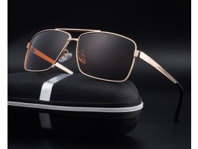 Set: Sluneční brýle polarizační Dallas  - zlaté hnědé