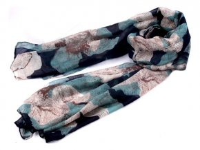 Šátek z lehkého šifonu s květy - tmavý