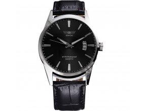 Módní pánské hodinky Swidu elegantní s datumem - černé