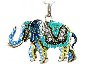 Dámský přívěsek ve vintage stylu - barevný slon s kamínky