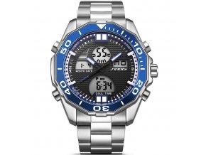 velke ocelove hodinky velky cifernik modre digitalni