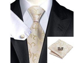 zlaty kravatovy set svatebni kravata