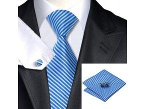 kravatovy set modry pruhovany kravata kapesnicek manzety 2