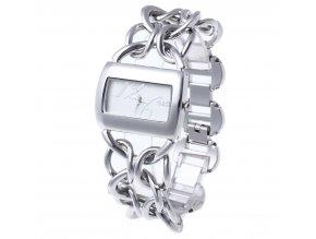Elegantní dámské hodinky G&D hranaté - stříbrné