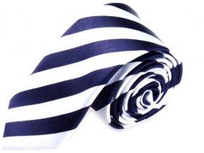 tenka slim kravata pruhovana modra bila