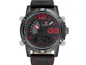 velke panske hodinky naviforce cerne cervene sportovni