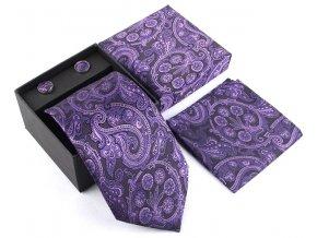 elegantni hedvabna kravata set kapesnicek manzety fialova
