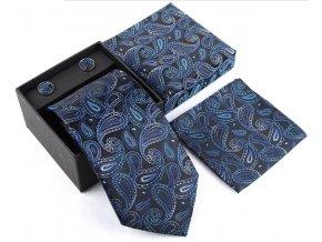 set kravata motylek manzety modra elegantni hedvabna