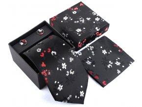 cerna kravata hedvabna elegantni set kapesnicek manzety