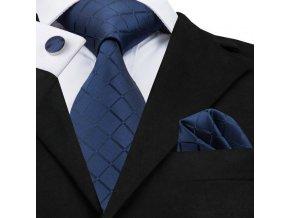 modry kravatovy set hedvabny