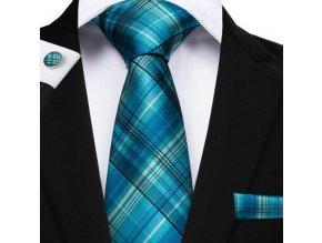 modra karovana kravata set