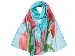 Šátek z lehkého šifonu Tulip - modrý