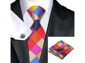 Kravatový set barevný kostkovaný, 100% hedvábí