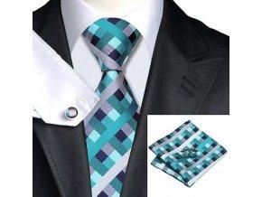 Kravatový set kostkovaný modrý, 100% hedvábí