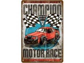 retro plechova cedule auto champion