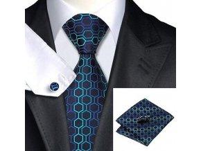 Kravatový set modrý s texturou, 100% hedvábí