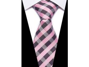 panska karovana ruzova kravata