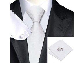 Kravatový set bílý s ornamentem, 100% hedvábí
