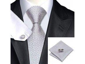 Kravatový set světle stříbrný s texturou, 100% hedvábí