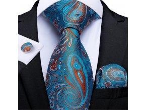 modra kravata manzety kapesnicek