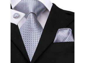 kravatovy set stribrny modry kravata hedvabna
