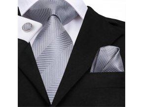 stribrny sedy kravatovy set