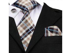 hnedy kravatovy set kravata