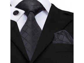 cerna kravata set kapesnicek manzety