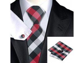 Kravatový set červeno-černý kostkovaný, 100% hedvábí