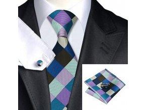 Kravatový set modro-fialový kostkovaný, 100% hedvábí