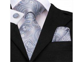 kravatovy set kravata svatebni seda stribrna
