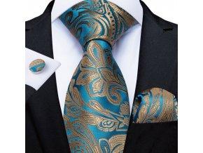 elegantni kravata svatebni tyrkysova modra zlata set hedvabna