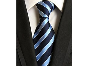 panska pruhovana kravata modra